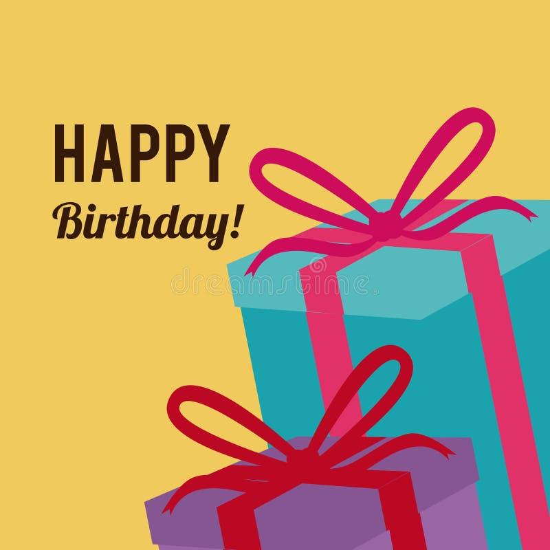 Birthday design. Over yellow background, vector illustration royalty free illustration