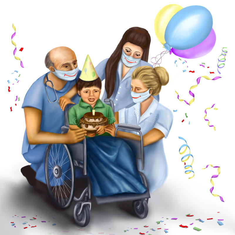 Birthday disabled child. Doctors have congratulated disabled child on his birthday royalty free illustration