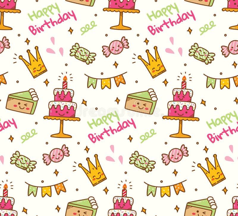 Birthday doodle seamless background with kawaii birthday stuff stock illustration