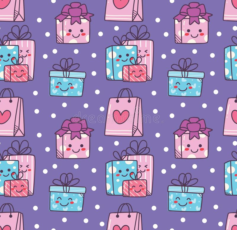 Birthday doodle seamless background with kawaii gift box vector illustration