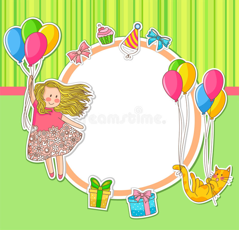 Download Birthday doodles stock vector. Image of gift, childish - 24256734