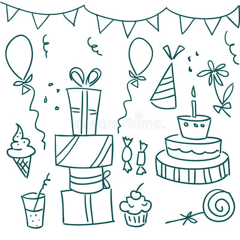 birthday doodles party 向量例证