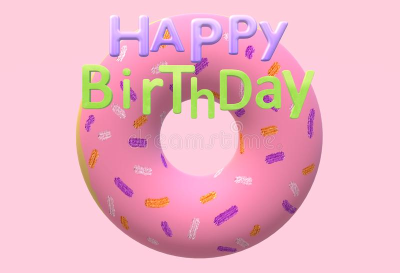 A birthday electronic greeting card with a strawberry pink doughnut. A computer generated illustration image of a birthday electronic greeting card with a stock illustration