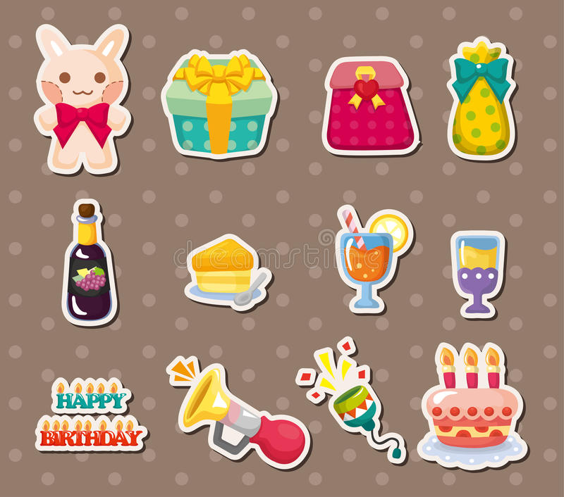 Download Birthday element stickers stock vector. Image of birthday - 26295007