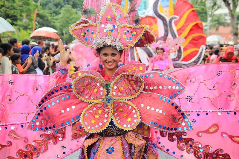 Surabaya indonesia. May 28, 2016. The flower parade commemorates the anniversary of the city of Surabaya. stock images