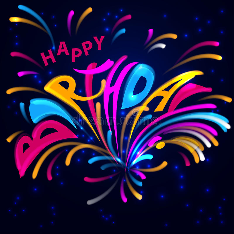 Birthday with fireworks. Lettering on his birthday on a dark background with stars and fireworks royalty free illustration