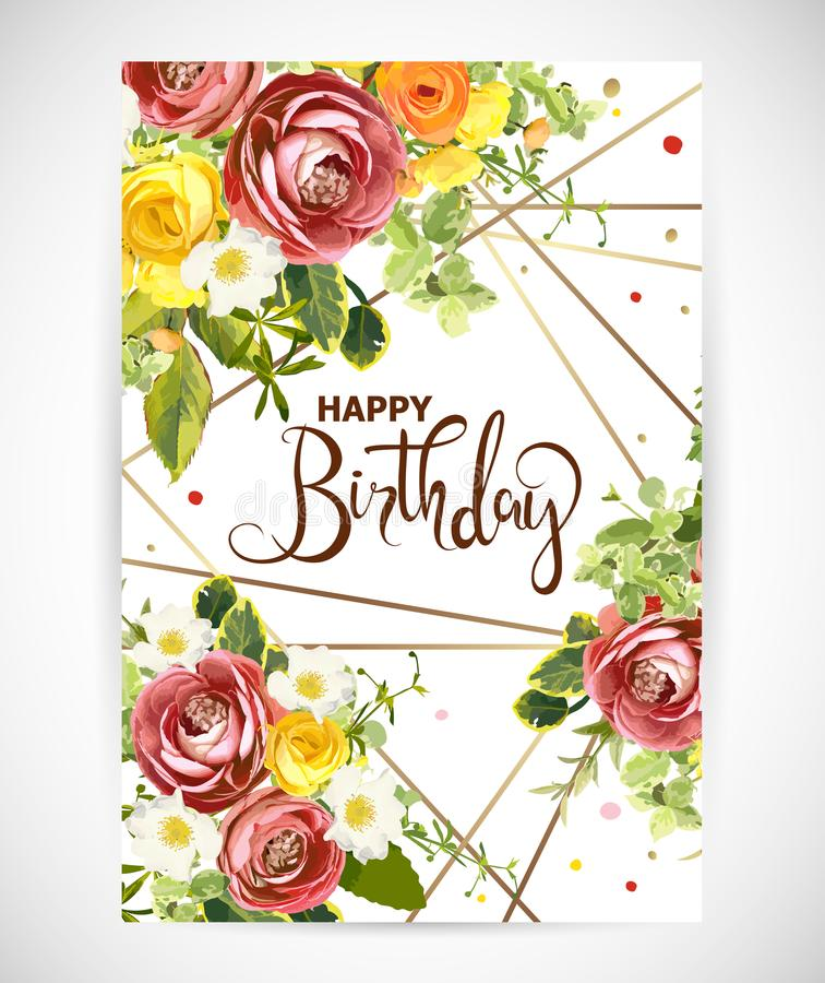 Birthday floral template invite. Vector illustration stock illustration