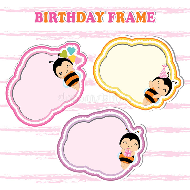 Birthday frames with cute bees on colorful frame suitable for Birthday postcard vector illustration
