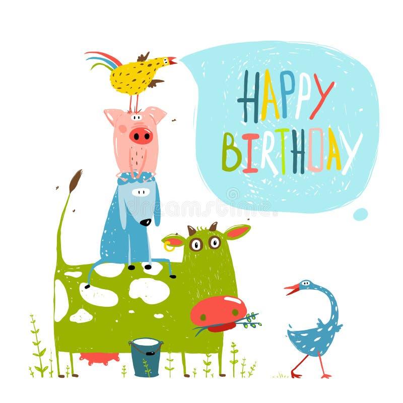 Birthday Fun Cartoon Farm Animals Pyramid Greeting vector illustration