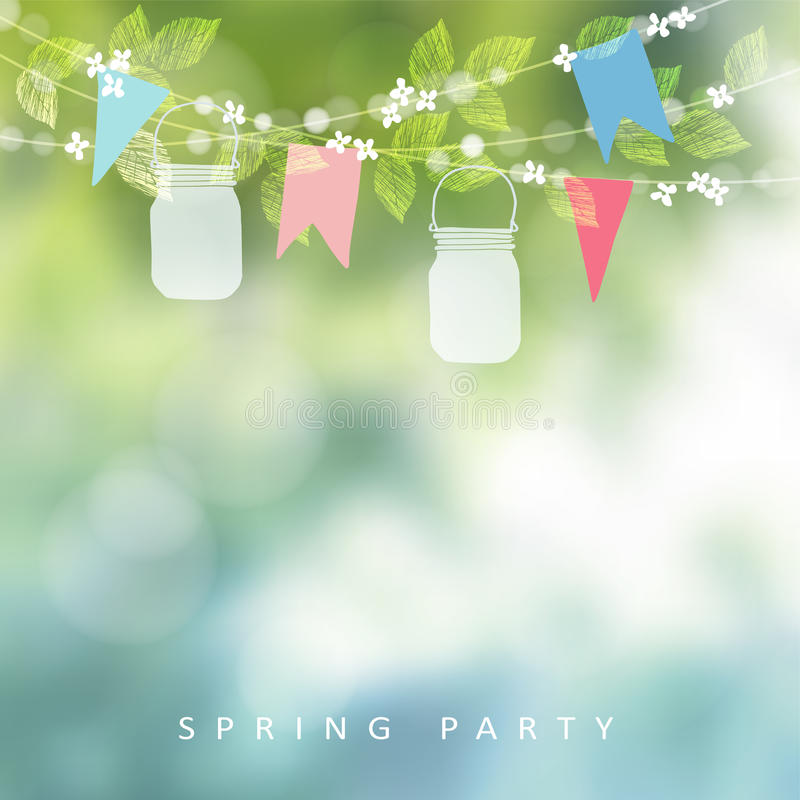 Birthday garden party or festa junina greeting card, invitation. String of lights, paper flags and mason jar lanterns. Blurred vector background, banner royalty free illustration