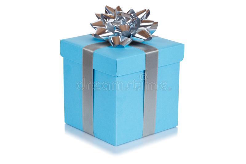 Birthday gift christmas present blue box isolated on white background. Birthday gift christmas present blue box isolated on a white background royalty free stock photo
