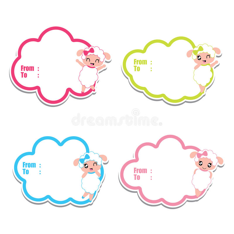 Birthday Gift Tags With Cute Sheep Girls On Colorful Frames Cartoon ...