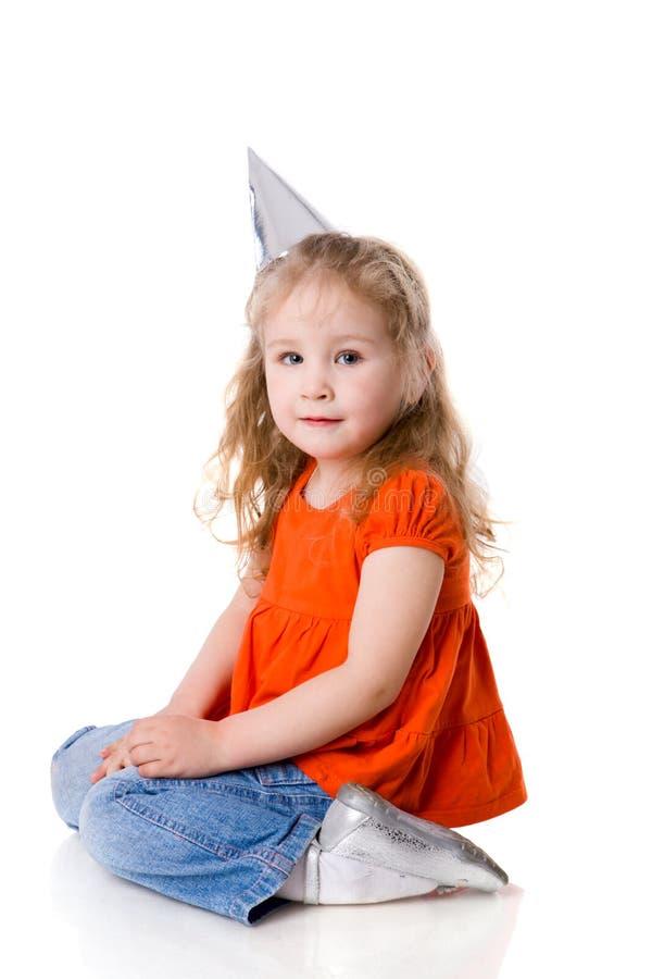 Birthday girl. Isolated on white royalty free stock image