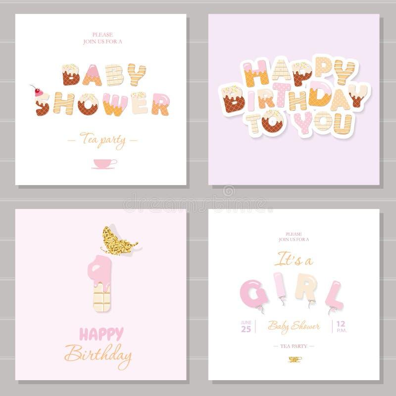 Birthday and girl baby shower invitation cards set sweet and download birthday and girl baby shower invitation cards set sweet and balloon letters stock stopboris Images