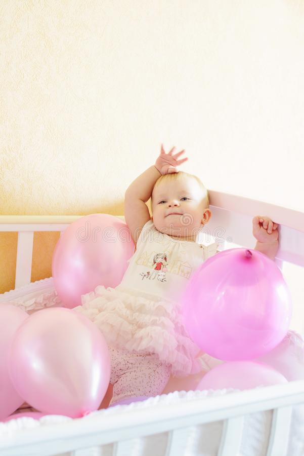 Birthday girl in bed royalty free stock photo