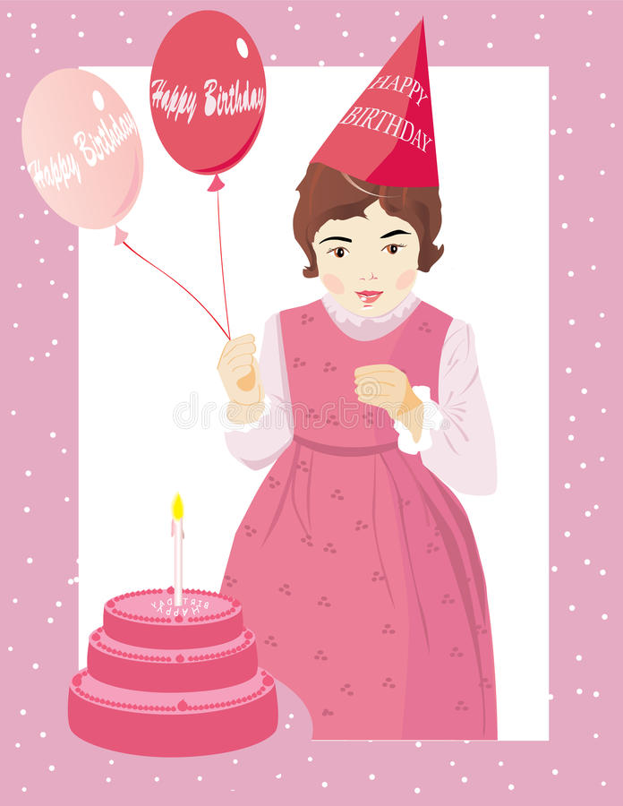 Download Birthday girl with a cake stock vector. Image of celebration - 12161282