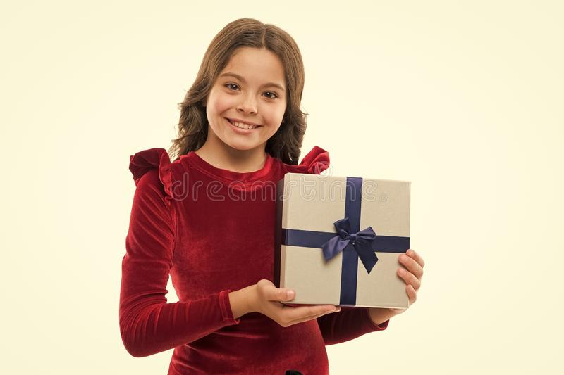 Birthday girl carry present with ribbon bow. Art of making gifts. Birthday wish list. Happy birthday concept. Girl kid. Birthday girl carry present with ribbon royalty free stock image