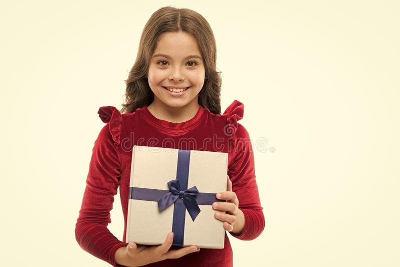 Birthday girl carry present with ribbon bow. Art of making gifts. Birthday wish list. What is inside. Happy birthday. Concept. Girl kid hold birthday gift box royalty free stock photos