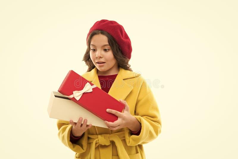 Birthday girl carry present with ribbon bow. Birthday wish list. Visit fashion store to choose gift. Girl happy kid hold. Birthday gift box. Birthday shopping royalty free stock photo