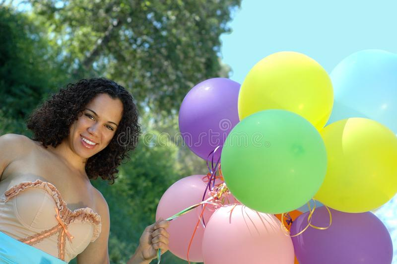 Birthday girl in vintage dress royalty free stock photos