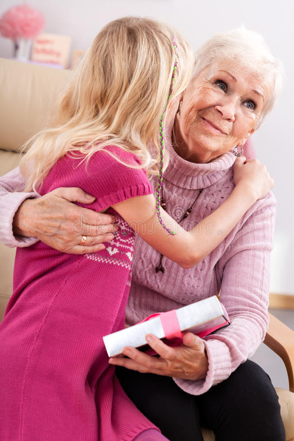 Birthday grandma hug stock photography