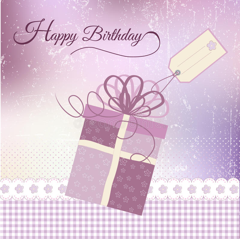 Birthday greeting. Card with gift in format vector illustration