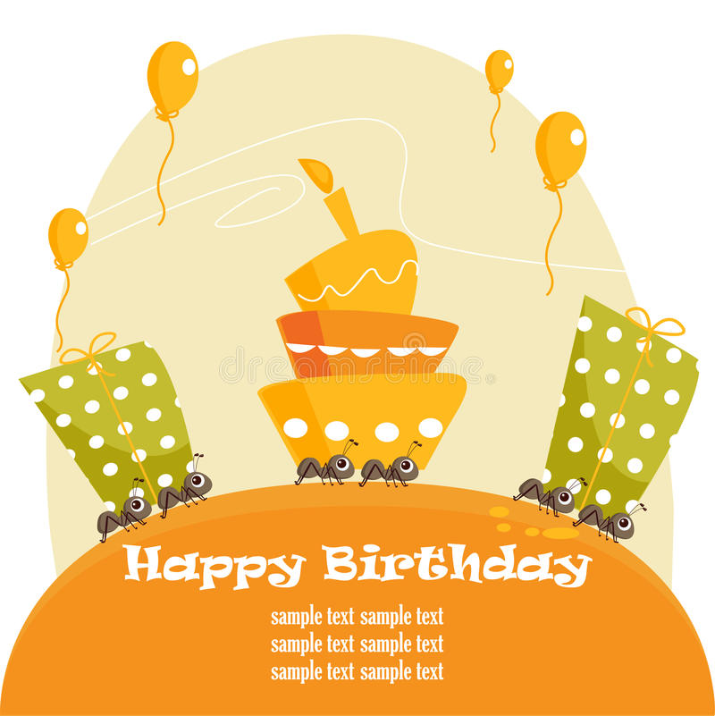 Birthday greeting card. Illustration stock illustration