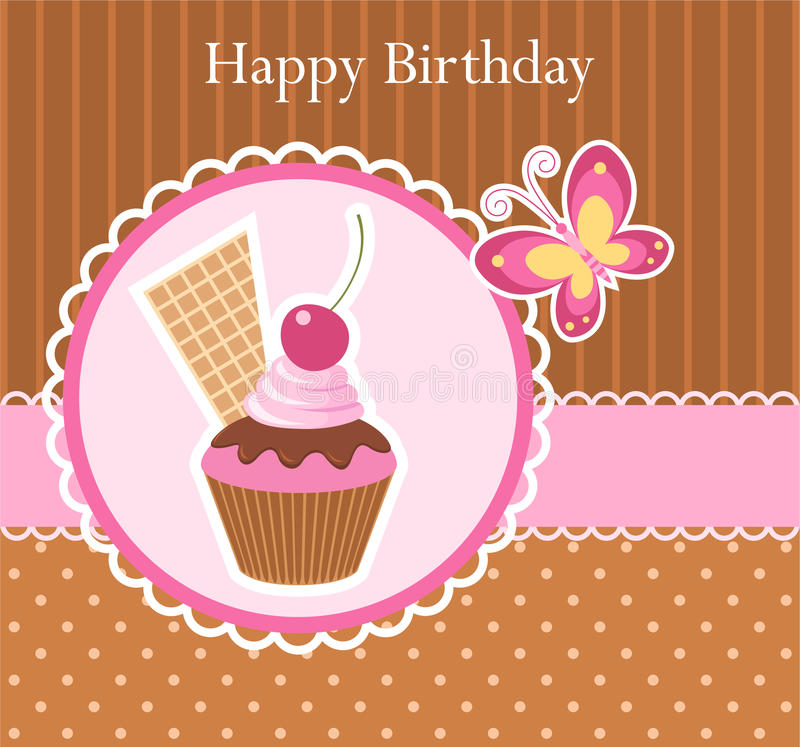 Birthday greeting card. With cupcake and butterfly royalty free illustration