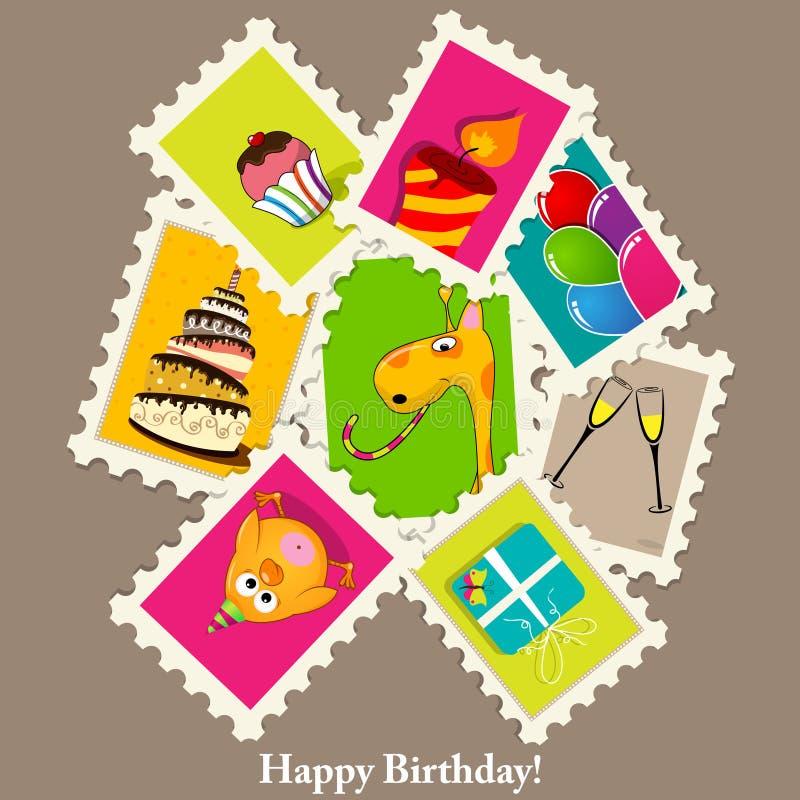 Birthday greeting card stock illustration