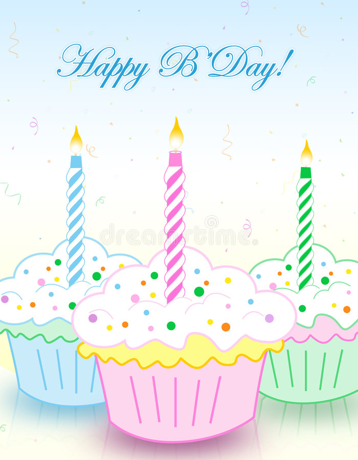 Birthday greeting card. Colorful decorated birthday cup cakes with happy birthday letters. illustration for birthday greeting cards vector illustration
