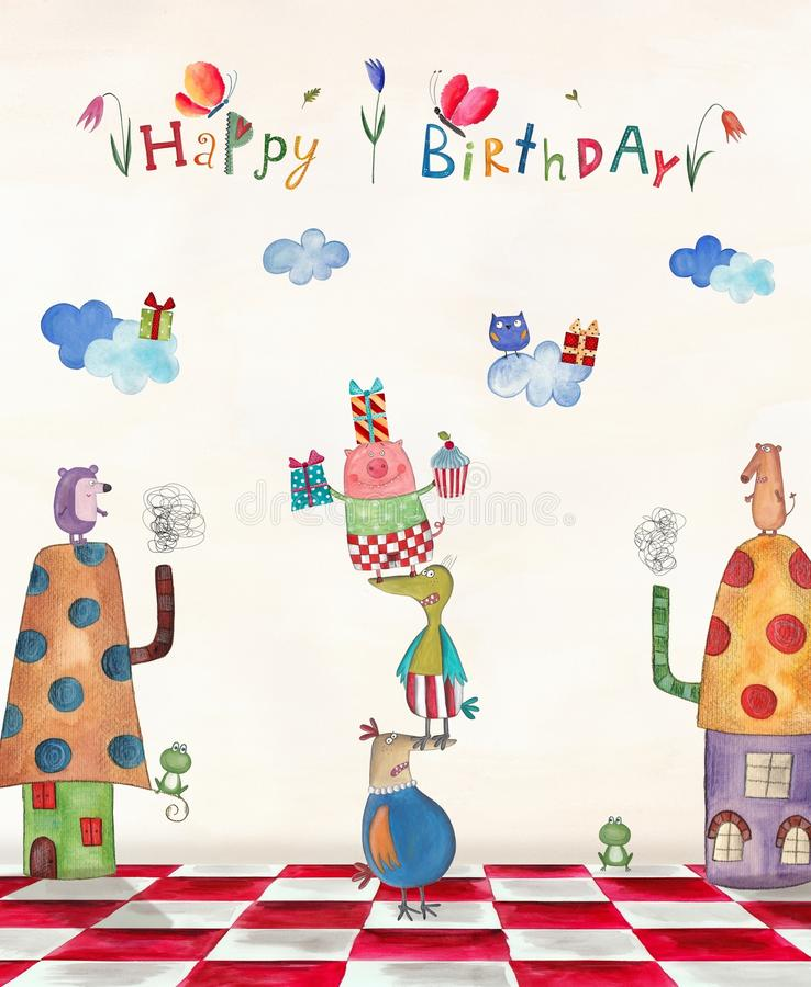 Birthday Greeting Card Stock Illustration Illustration Of Artistic