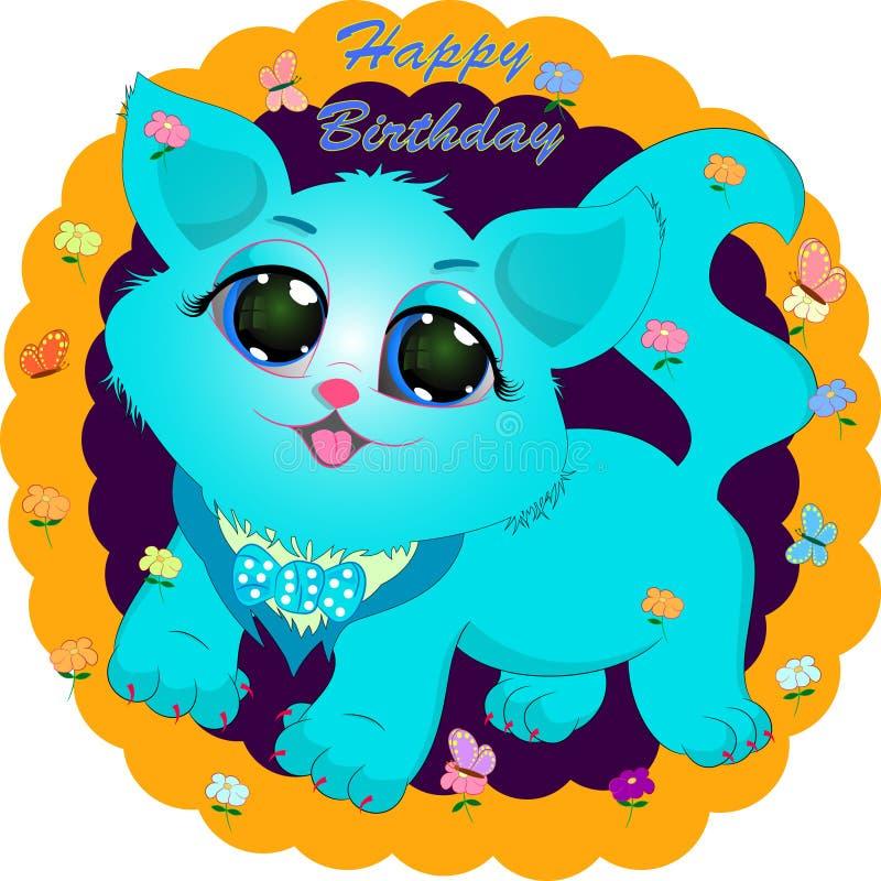Birthday greeting card with blue cat. Cartoon vector illustration royalty free illustration