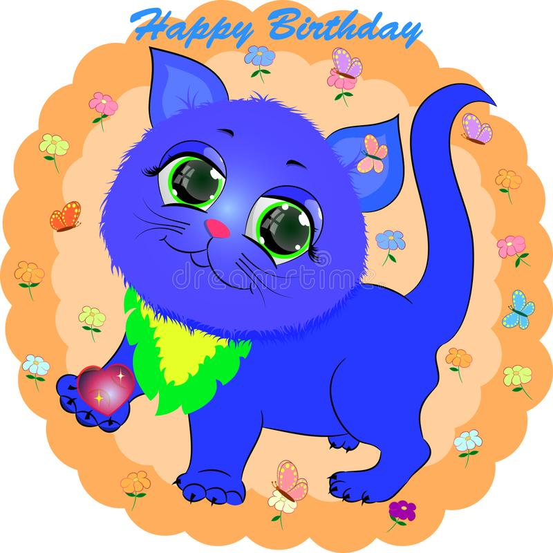 Birthday greeting card with blue cat. Cartoon vector illustration with kitty stock illustration