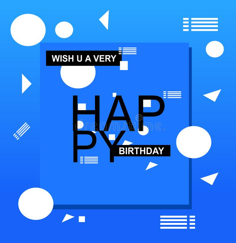 Birthday Greeting Card : blue color greeting card with shapes. Blue background card design with black typography and pattern, Happy Birthday greeting card stock illustration