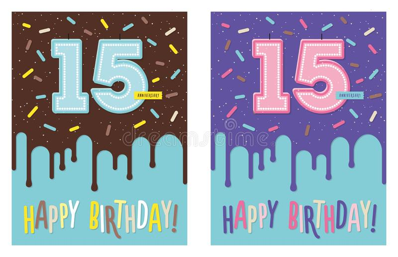 Birthday greeting card cake and 15 candle. Birthday greeting card with dripping glaze on decorated cake and number 15 celebration candle vector illustration