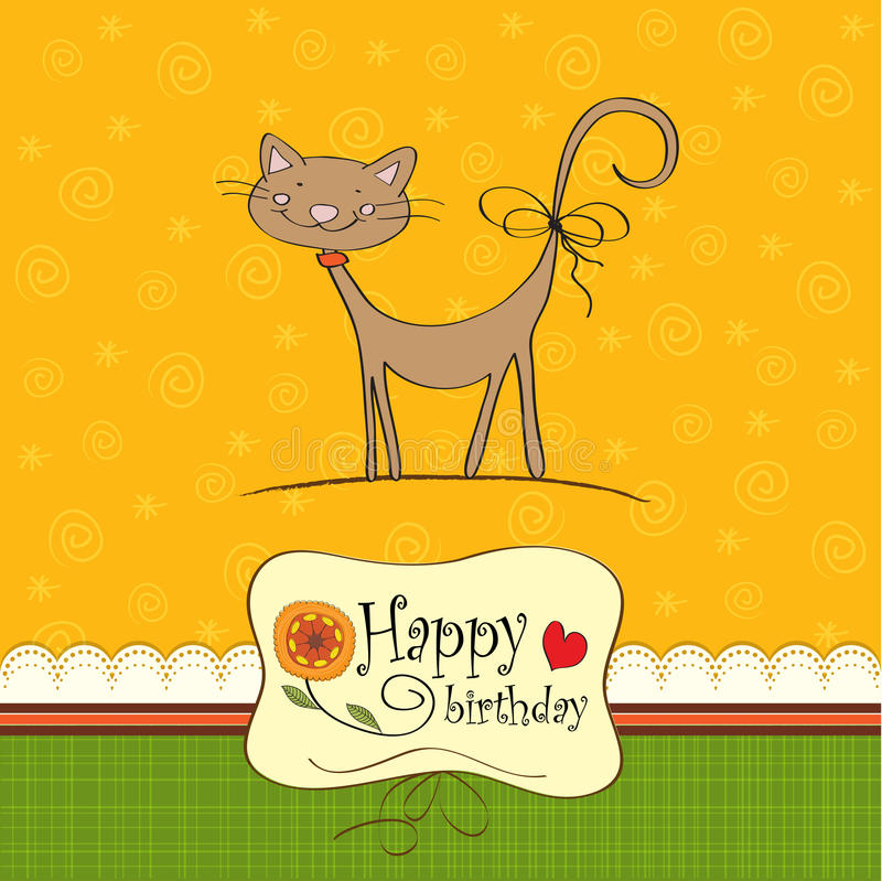 Birthday greeting card with a cat. Birthday greeting card with cute cat royalty free illustration
