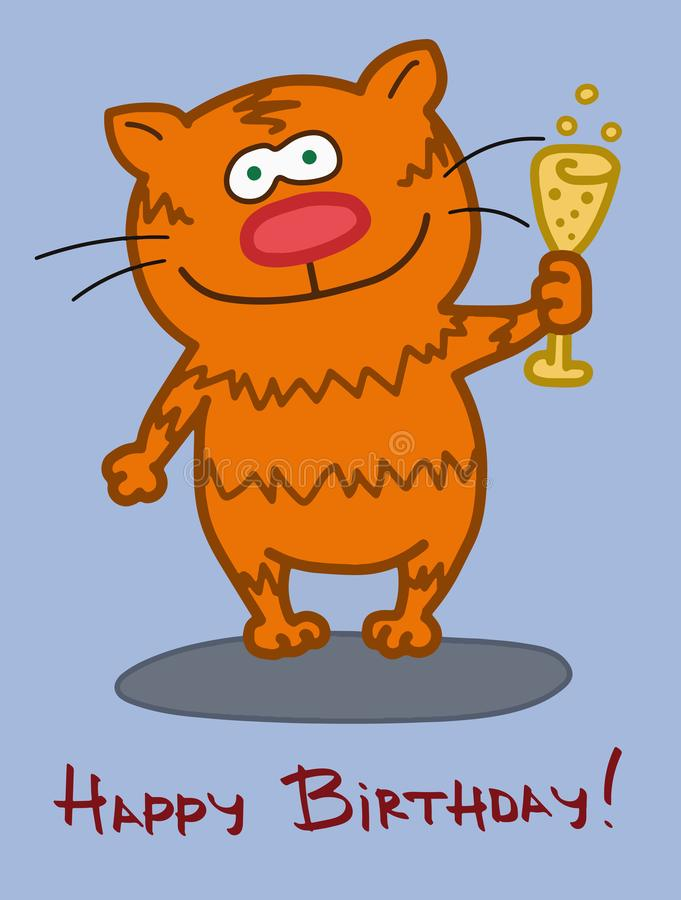 Birthday greeting card. Cat character with a glass of champagne royalty free illustration