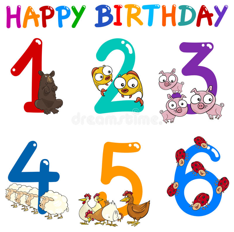 Birthday greeting card collection. Cartoon Illustration Design of the Birthday Greeting Cards Set for Children vector illustration