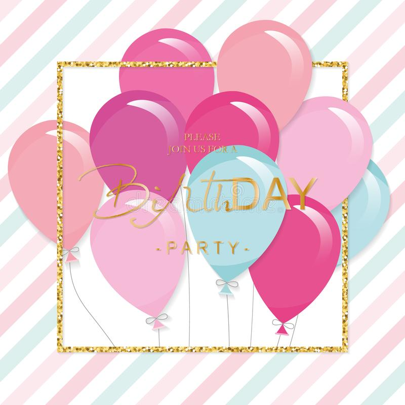 Birthday greeting card with colorful balloons and glitter frame. Festive holiday template. vector illustration