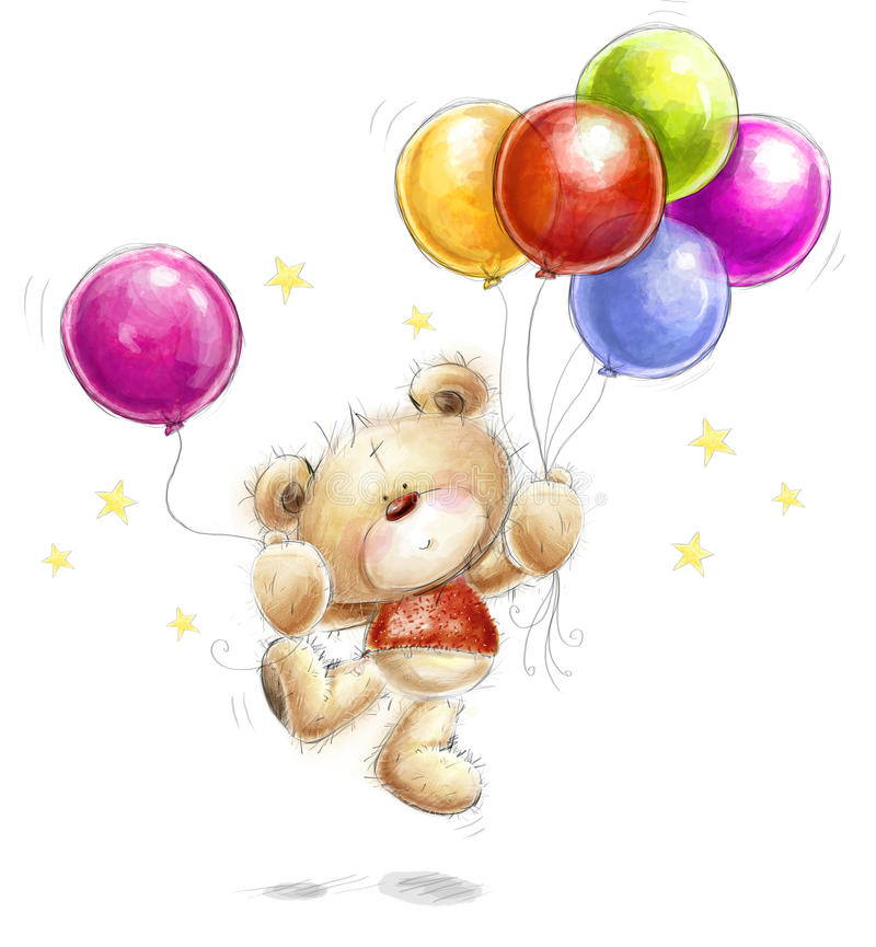 Birthday greeting card. Cute Teddy bear with the colorful balloons and stars. stock illustration