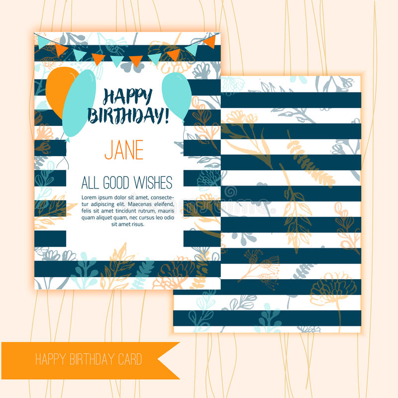 Birthday greeting card design with floral elements on wooden background with festive flags and balloons. royalty free illustration