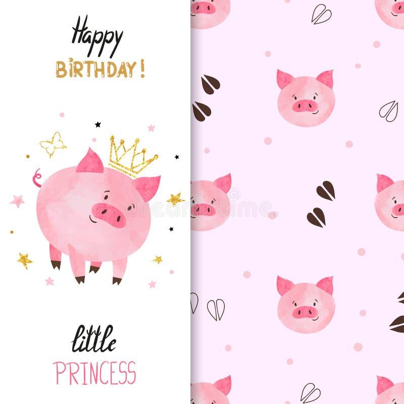 Birthday greeting card design for little girl with cute pig. Birthday greeting card design for little girl. Vector illustration of cute little princess pig stock illustration