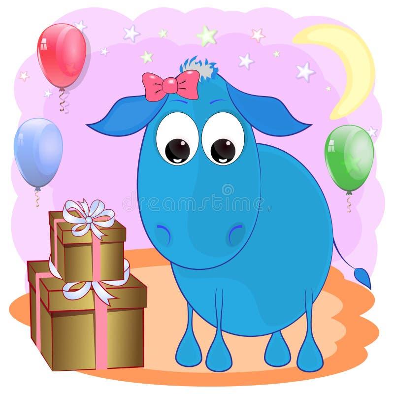 Birthday greeting card with donkey. Birthday cartoon greeting card with donkey. cartoon vector illustration with donkey vector illustration