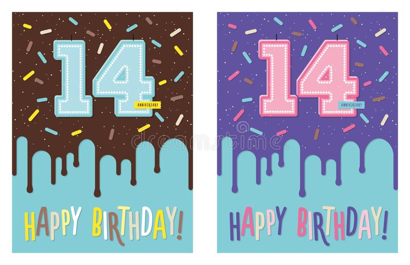 Birthday greeting card with cake and 14 candle. Birthday greeting card with dripping glaze on decorated cake and number 14 celebration candle royalty free illustration