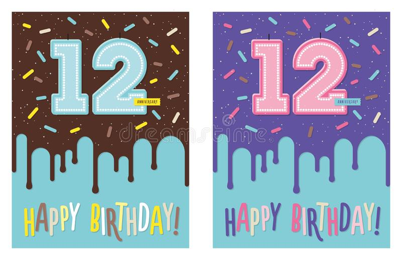 Birthday greeting card with cake and 12 candle. Birthday greeting card with dripping glaze on decorated cake and number 12 celebration candle royalty free illustration