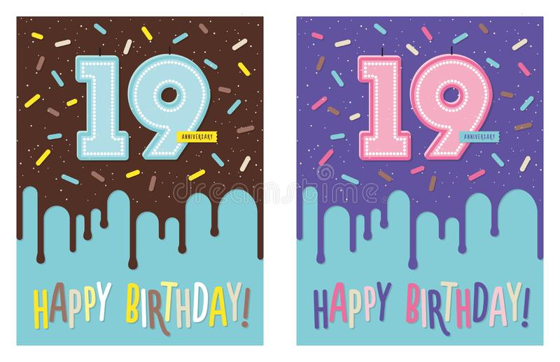 Birthday greeting card with cake and 19 candle. Birthday greeting card with dripping glaze on decorated cake and number 19 celebration candle royalty free illustration