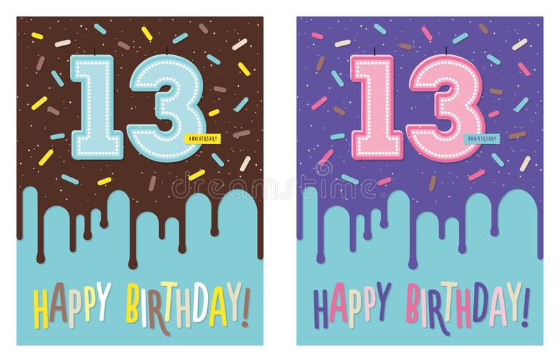 Birthday greeting card with cake and 13 candle. Birthday greeting card with dripping glaze on decorated cake and number 13 celebration candle vector illustration
