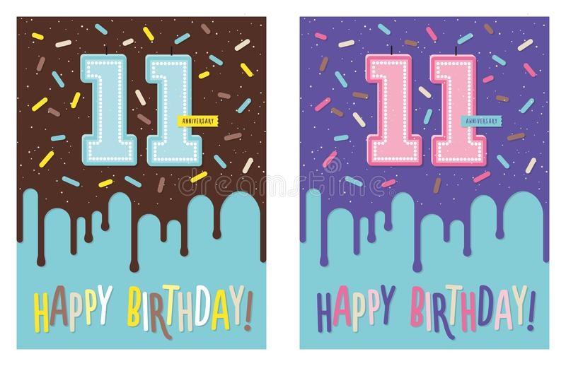 Birthday greeting card with cake and 11 candle. Birthday greeting card with dripping glaze on decorated cake and number 11 celebration candle stock illustration