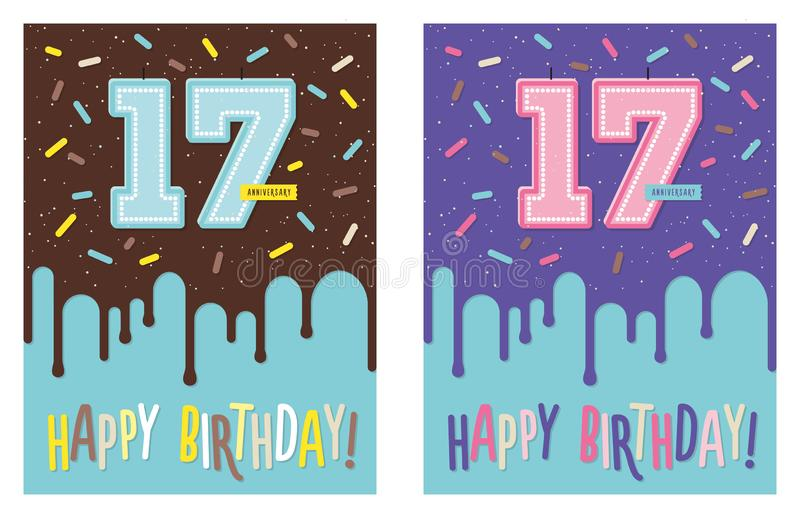 Birthday greeting card with cake and 17 candle. Birthday greeting card with dripping glaze on decorated cake and number 17 celebration candle vector illustration