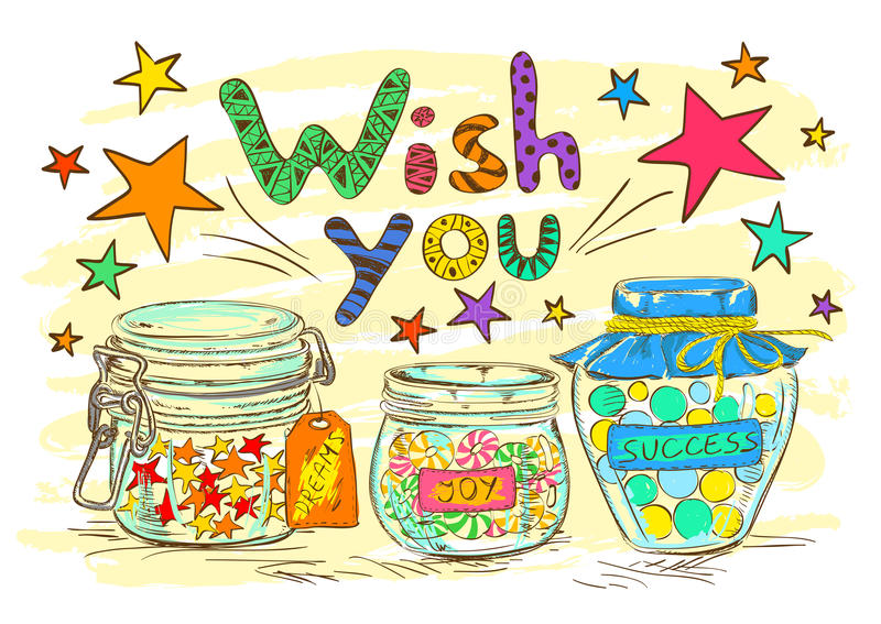 Birthday greeting card with jars and wishes. Birthday greeting card with cartoon mason jars and funny wishes vector illustration